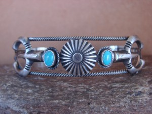 Native American Indian Jewelry Sterling Silver Turquoise Naja Bracelet - Benally