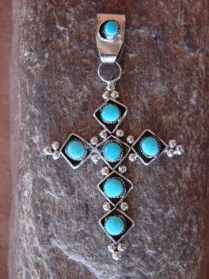 Zuni Indian Sterling Silver Turquoise Cross Pendant! Booqua