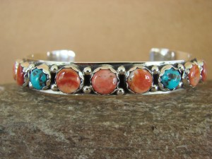 Native American Sterling Silver Turquoise Spiny Oyster Bracelet -Talley! Navajo
