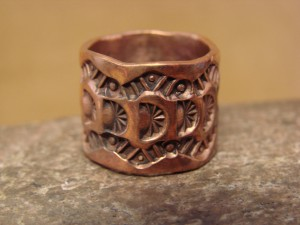 Navajo Hand Stamped Copper Ring by Douglas Etsitty, Size 7
