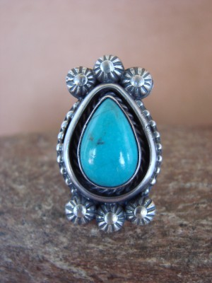 Native American Jewelry Sterling Silver Turquoise Ring, Size  5 1/2 Vendever