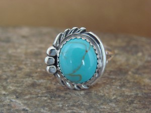 Navajo Indian Jewelry Sterling Silver Turquoise Ring Size 6 by Cadman