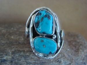 Zuni Indian Sterling Silver Turquoise Snake Ring Size 9 - Jude Candelaria