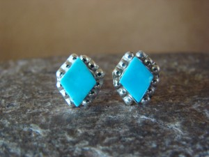 Native American Indian Jewelry Sterling Silver Diamond Shape Turquoise Post Earrings!