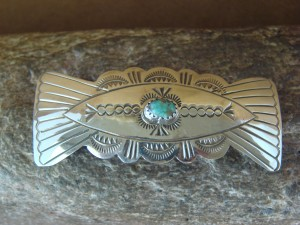 Native American Indian Jewelry Sterling Silver Hand Stamped Turquoise Hair Barrette! Soce