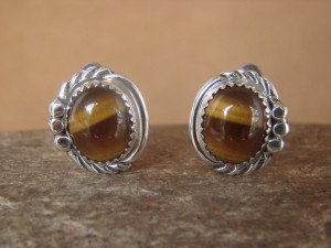 Native American Sterling Silver Tiger Eye Clip On Earrings by Delores Cadman