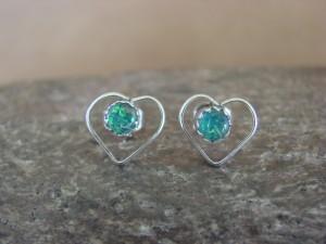 Small Zuni Indian Jewelry Sterling Silver Opal Heart Post Earrings!