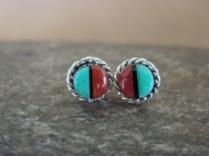 Zuni Indian Jewelry Sterling Silver Turquoise Coral Post Earrings!