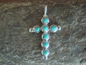 Navajo Indian Jewelry Sterling Silver Turquoise Cross Pendant by DK