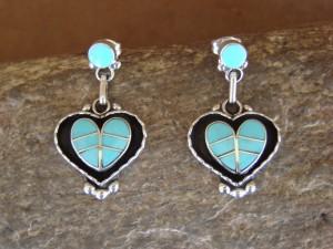Zuni Indian Jewelry Sterling Silver Turquoise Inlay Heart Earrings! Lowsayatee
