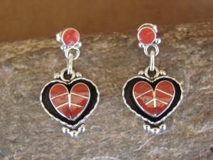 Zuni Indian Jewelry Sterling Silver Coral Inlay Heart Earrings! Lowsayatee