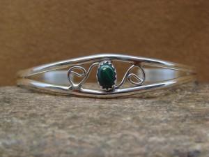 Navajo Indian Jewelry Sterling Silver Malachite Bracelet by J. Lincoln