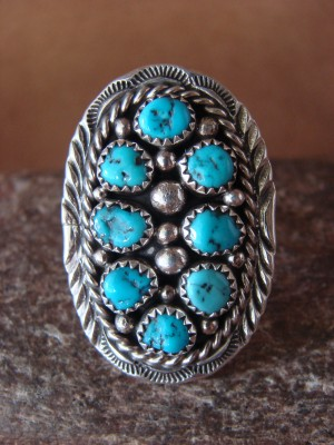Native American Jewelry Sterling Silver Turquoise Cluster Ring, Size 9 - MH