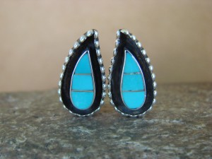 Native American Zuni Sterling Silver Turquoise Inlay Clip On Earrings - Salador