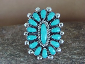 Native American Jewelry Sterling Silver Turquoise Cluster Ring, Size 6