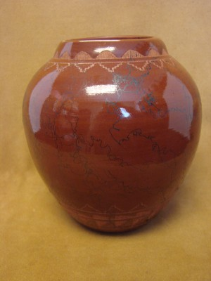 Native American Indian Horse Hair Hand Etched Pot by Mirelle Gilmore!