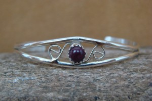 Navajo Indian Sterling Silver Purple Shell Baby Bracelet by Cadman!