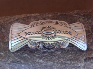 Native American Indian Jewelry Sterling Silver Hand Stamped Hair Barrette! Soce