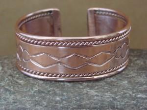 Navajo Native American Jewelry Hand Stamped Copper Bracelet Elaine Tahe!