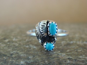 Native American Indian Jewelry Sterling Silver Leaf Turquoise Ring, Size 5 - Joe
