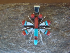 Zuni Indian Sterling Silver Turquoise & Coral Inlay Dragonfly Pendant! Wayne Haloo
