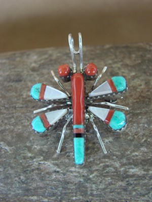 Zuni Indian Sterling Silver Turquoise & Coral Inlay Dragonfly Pin/Pendant! Wayne Haloo
