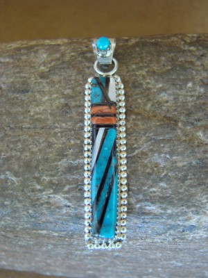 Zuni Indian Sterling Silver Turquoise & Coral Inlay Pendant! Wayne Haloo