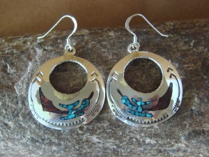 Navajo Jewelry Sterling Silver Turquoise and Coral Chip Inlay Earrings - Yazzie