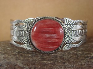 Native American Jewelry Sterling Silver Spiny Oyster Bracelet by Russel Sam