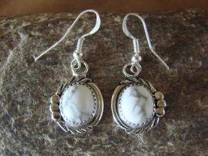 Native American Sterling Silver White Howelite Post Earrings by Delores Cadman