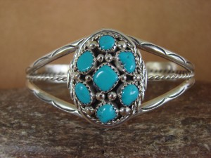 Navajo Indian Jewelry Sterling Silver Turquoise Bracelet! Mary Chavez