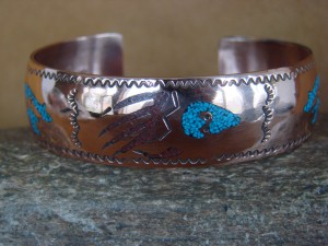 Navajo Indian Copper Turquoise & Coral Chip Inlay Bracelet by Begay!