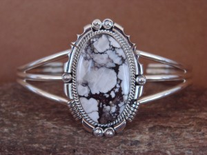 Native American Sterling Silver Wild Horse Bracelet by Daniel Benally