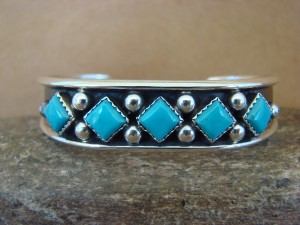 Native American Indian Jewelry Sterling Silver Turquoise Row Bracelet - Benally