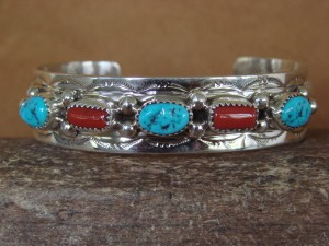 Navajo Indian Jewelry Sterling Silver Turquoise Coral Row Bracelet! W.M.
