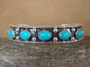 Navajo Indian Jewelry Sterling Silver Turquoise Row Bracelet! Jerry Cowboy