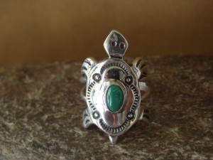 Native American Sterling Silver Turquoise Stamped Turtle Ring by Pena Size 7 1/2