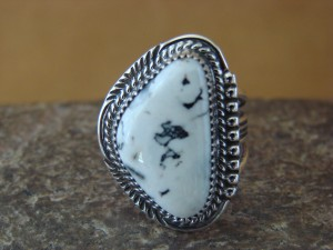 Native American Indian Jewelry Sterling Silver White Buffalo Ring, Size 7   G. Boyd