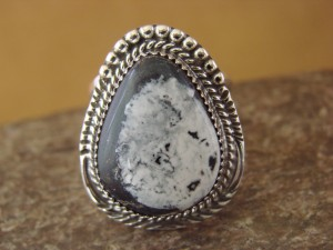 Native American Indian Jewelry Sterling Silver White Buffalo Ring, Size 7 1/2   G. Boyd