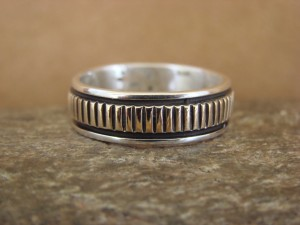 Native American Sterling Silver 14k Gold Ring Band, Size 10 1/2 by Bruce Morgan!