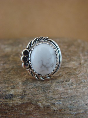 Navajo Indian Jewelry Sterling Silver Howlite Ring Size 5 by Cadman