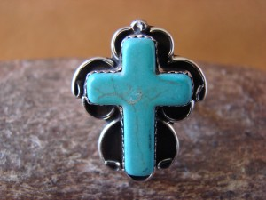 Native American Nickle Silver Turquoise Cross Ring Size 8 by Phoebe Tolta