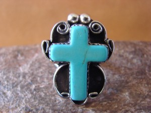 Native American Nickle Silver Turquoise Cross Ring Size 7 by Phoebe Tolta