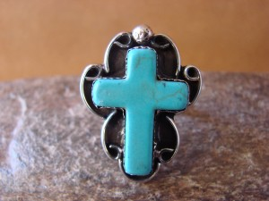 Native American Nickle Silver Turquoise Cross Ring Size 6 1/2 by Phoebe Tolta
