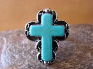 Native American Nickle Silver Turquoise Cross Ring Size 7 1/2 by Phoebe Tolta
