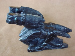 Zuni Indian Hand Carved Picasso Marble Two Horse Fetish by Herbert Him Jr.