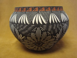 Native American Acoma Indian Pot Hand Painted  by Jay Vallo