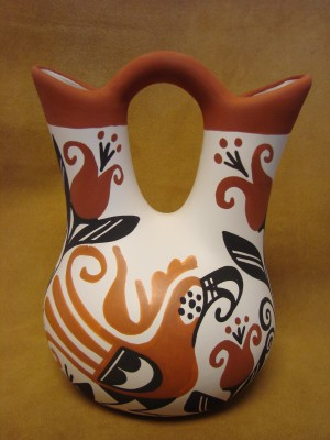 Native American Acoma Indian Pottery Hand Painted Wedding Vase by K. Joe