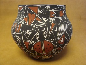 Native American Acoma Nature Vase Hand Painted by C. Estevan!
