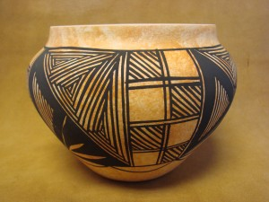 Native American Acoma Nature Pot Hand Painted by S. Salvador